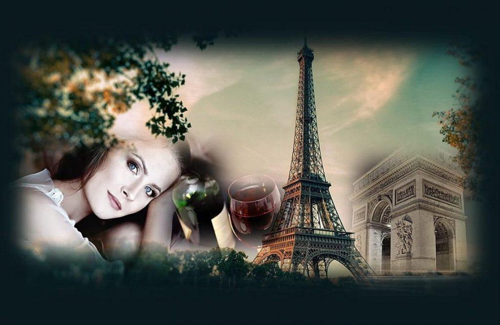 הסוד של הצרפתיות לאנטי אייג'ינג יין אדום. תמונה של פריז עם מגדל אייפל שער הניצחון ואישה עם יין אדום.