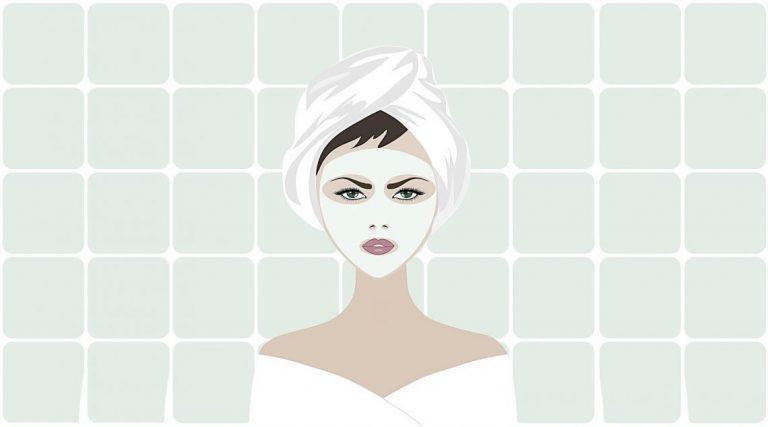 טיפולי טיפוח מתקדמים לשמירה והצערת העור. ציור של אישה עם מסכה להצערת העור.