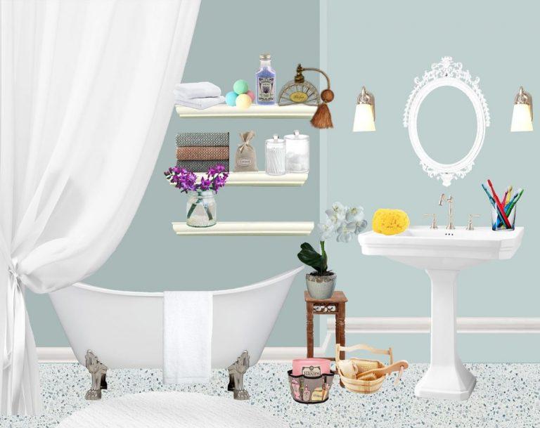 טיפוח בריאות ואנטי אייג'ינג תמונה של מוצרי טיפוח בחדר אמבטיה.