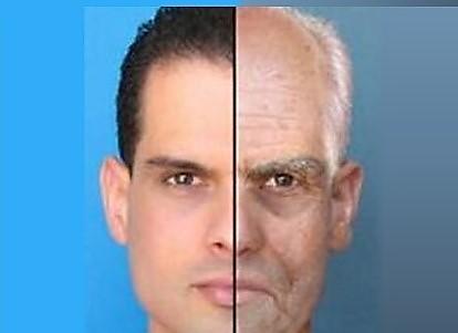 בריא ויפה או זקן וחולה? תמונת פנים של גבר חצי זקן חצי צעיר.