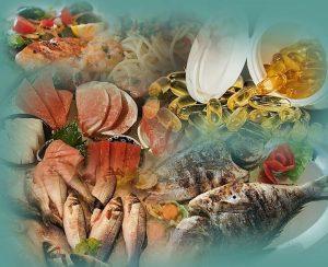דגי ים ופירות ים כמקור לאומגה 3 ולדיאטת אנטי אייג'ינג.תמונה של דגי ים ופירות ים.