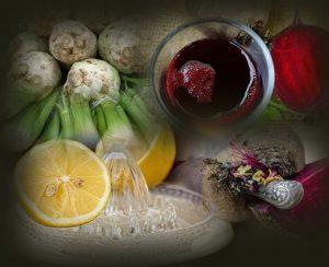 תמונה של סופר פוד מזונות על שורש סלרי, לימון וסלק אדום לדיאטת אנטי אייג'ינג.