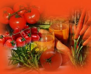 עגבניה וגזר לדיאטת אנטי אייג'ינג. תמונה של עגבניות וגזרים.