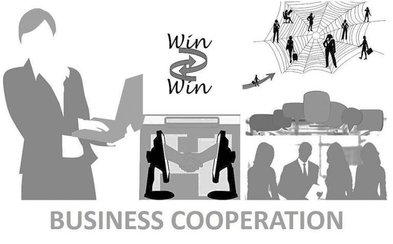 שיתופי פעולה I לעבוד איתי. תמונת איור של צוות עם הכיתוב WIN WIN
