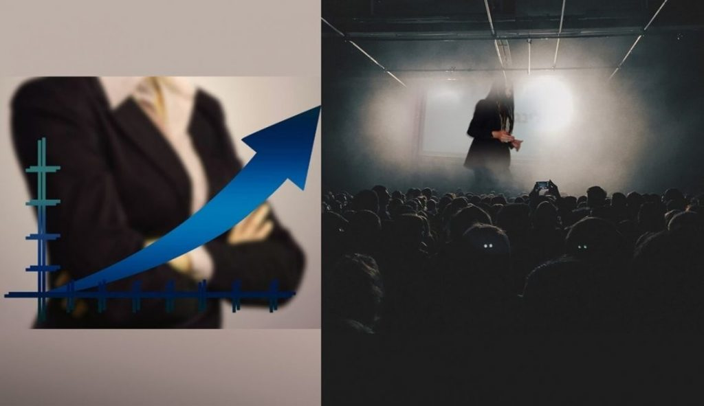 סדנה לגופים, ארגונים, חברות גדולות ועמותות. תמונה משולבת של אישה בחליפה עם חץ אלכסוני כלפי מעלה ושל חלי בהרצאה.